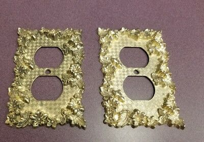 2-- Floral Vintage Metal Light Switch Plate Cover Single Toggle Amer Tack Hdwe