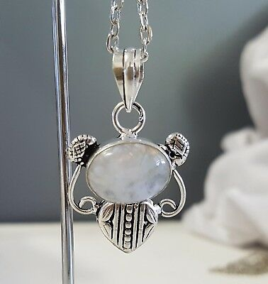 Sterling Silver Overlaid Moonstone Pendant with chain