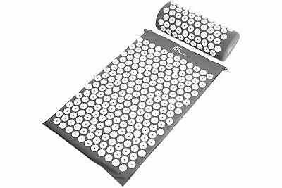 ProSource Acupressure Mat w/Pillow Back Neck Pain Relief Muscle Relaxation Grey