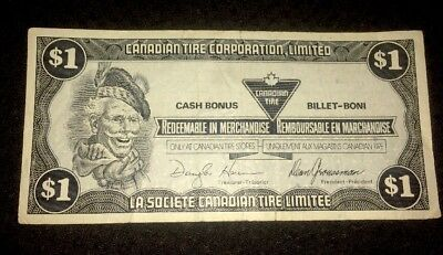 1 Dollar Canada Canadian Tire Note Money Redeemable voucher 1985