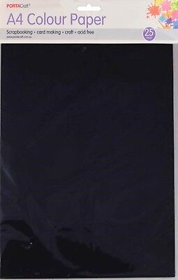 Craft Paper A4 80gsm 25 Pack Black
