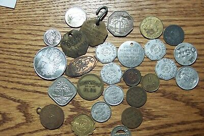 27 Pc Lot Trade Tokens, Medals, Vintage dog Tags, Etc.