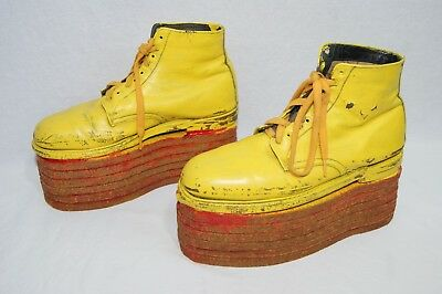 "Vintage Homemade Leather Circus Clown Shoes Yellow & Red Stilts 11.75"" Long"