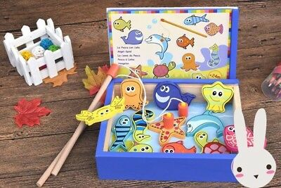 Wooden Magnetic Fishing Board Game Playset Ocean Creature