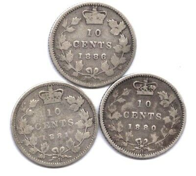3 Canada Ten Cents: 1886, 1880-H, 1881-H * Semi-Key Dates  * Nice Coins *