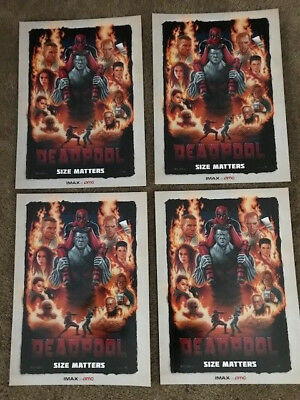 "4 Lot DEADPOOL ORIGINAL PROMO MOVIE POSTER 9.5""x13"" IMAX 2015 AMC Ryan Reynolds"