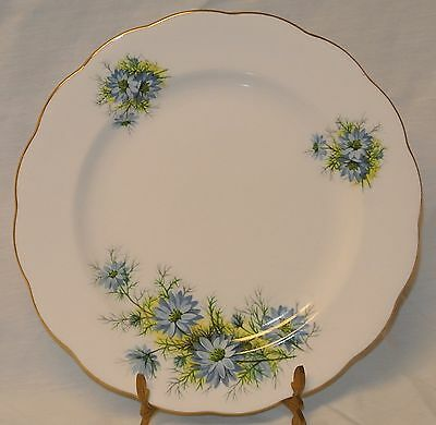 Royal Standard White Blue Flowers/Gold Trim Fine Bone China Plate Scalloped-8""
