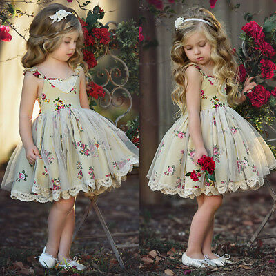 Princess Kids Baby Flower Girl Birthday Wedding Pageant Formal Party Tulle Dress