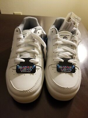 Youth Skechers White Energy Lights 90601 Light Up Sneakers Shoes W