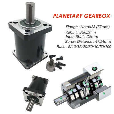 NEMA23 Planetary Gearbox Stepper Reducer 5:1 10:1 20:1 30:1 50:1 100:1 fr Router