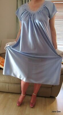 Vintage St Michael M & S semi sheer blue quite glossy nightie nightdress 20 22