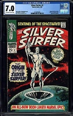 SILVER SURFER #1 CGC 7.0 -- O/W to WHITE PAGES! BIG FIRST ISSUE! LEE/BUSCEMA