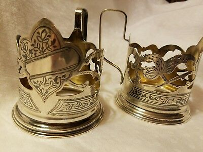 Old Russian Gorgeous Pair of TWO Sterling Tea Cup Holders Marked ☆875
