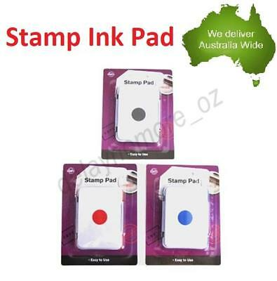 Black / Blue /Red Stamp Ink Pad Inkpad Pre-Inked Home School Office Stationery