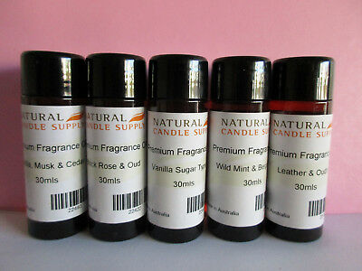 Bulk 5x 30ml Fragrance Oils Vanilla, Oud, Mint Candle Making Craft NEW FREE POST