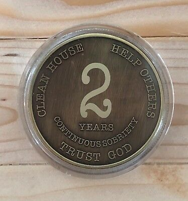 AA 2 Year Chip Bronze Alcoholics Anonymous Coin Bigger Design with Coin Capsule