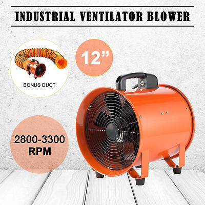 """12"""" Inch Extractor Fan Blower Portable 5m Duct Hose Ventilator Industrial Air"""
