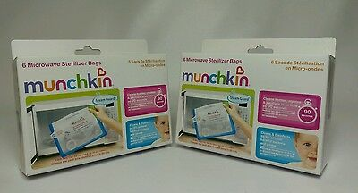 Lot of 2 New Munchkin Steam Guard Microwave Sterilizer Bags 6 Packs - 12 Total