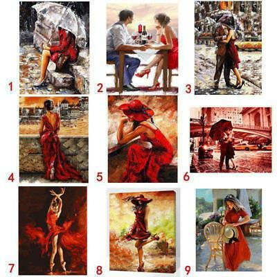 """Paint By Number Kit Oil Painting Canvas Lover's Couple Valentine's Gift 20x16"""""""