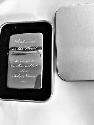 Engraved Petrol Lighter Best Dad Daddy Fathers Day Gift Uk In A Tin Box