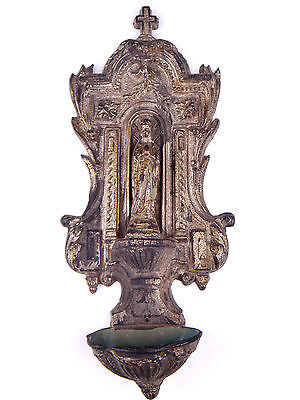 Antique French Virgin Mary Holy Water Font Zamac Spelter Christian Decoration