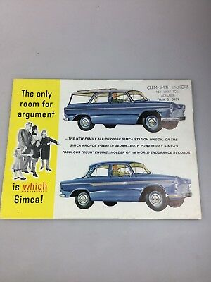 Vintage Car Brochure - Simca - From Clem Smith Motors Adelaide