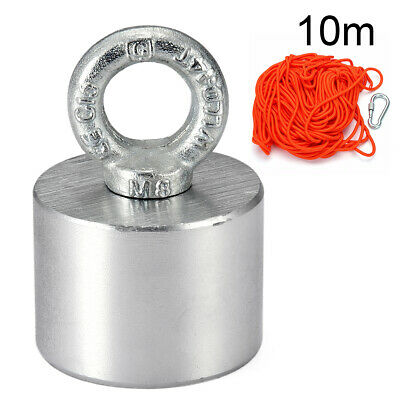 55x40mm200KG Neodymium Recovery Magnet Hook Ring Hunting Metal Detector 10m Rope