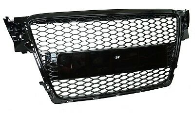 Gloss Black Front Grille Audi A4 B8 Honeycomb mesh 2009-2012 RS4 estate saloon