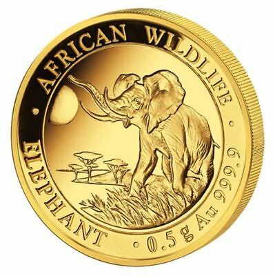 Somalia 2016 Elefant 20 Shillings African Wildlife 0,5g. 999.9er Gold PP proof