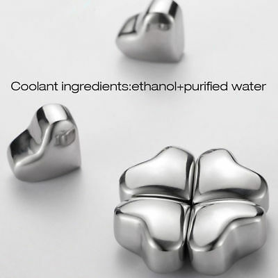 Reusable Cooling liquid Stainless Steel Heart Ice Cubes Drink Cooler Freezer pub