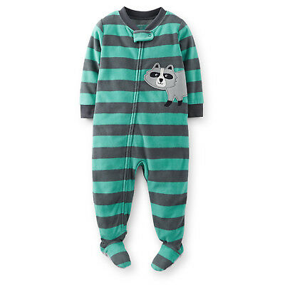 NWT Carters Striped Footed Sleeper Pajama Infant Toddler boys Green 12 18  24 3T