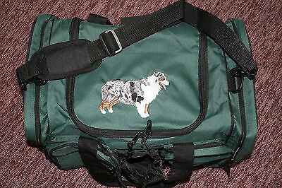 Australian Shepherd  Dog Embroidered On a Green/Black Duffle Bag