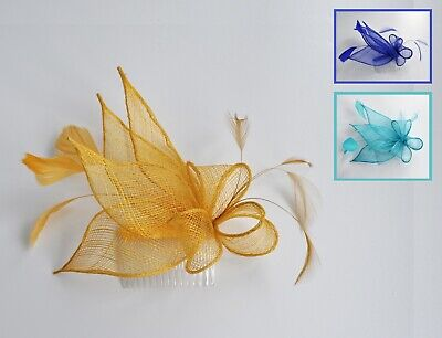 Royal blue, hot pink, bright sinamay & feather wedding fascinator hair comb.