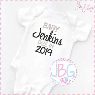 Personalised Baby Vest Due 2019, Embroidered Design, New arrival Unisex Clothes
