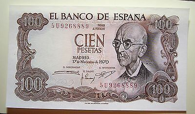 Spain 1970 100 Pesetas UNC Bank Note 5U9268889