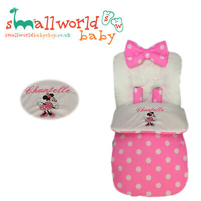 Universal Footmuff Cosy Toes Personalised Pram Minnie Mouse Buggy Stroller Girl