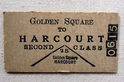 VICTORIAN RAILWAYS - Golden Square to Harcourt - Second Class