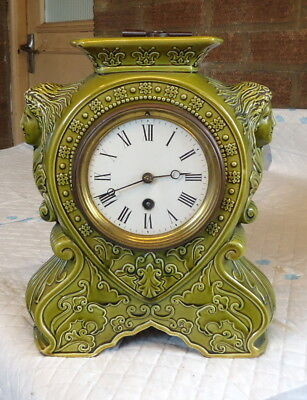 """""""SINGLE TRAIN"""" Art Deco.Green Glazed Mantel Clock, Works.In Excellent Condition"""