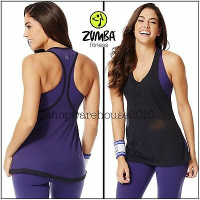 ZUMBA Loose Fitting Tank Racerback Top Funked Up Perfect Back to Black Z3342567