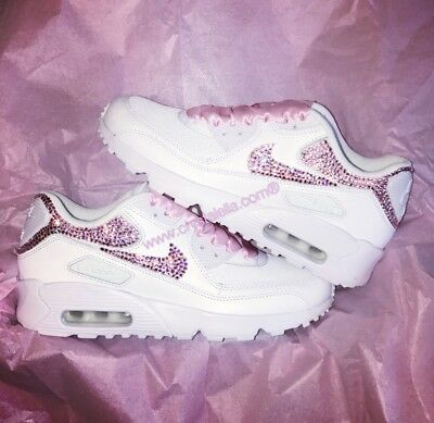 CRYSTAL PRINCESS NIKE Air Max 90 in White with Pink Swarovski Crystals and Laces