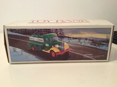 1985 First Hess Toy Green Gasoline Truck Bank with Box Never used