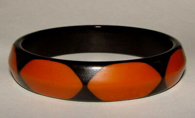 Rare VINTAGE Belle Kogan Black & Yellow Bakelite Bangle Bracelet 1930s