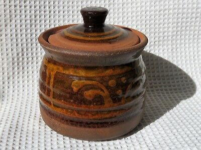 Coxwold Pottery rustic jam - honey pot with lid