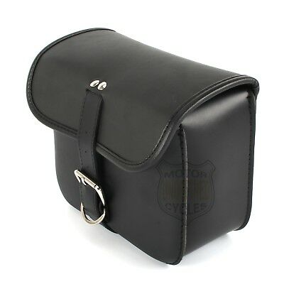 Black Leather Square Battery Cover Solo Tool Bag For Harley Dyna FXD 06-14