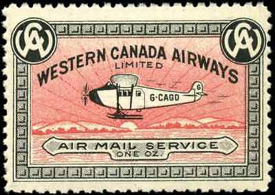 Canada #CL40h mint VF OG NH 1927 Western Canada Airways 10c Skis touching sun