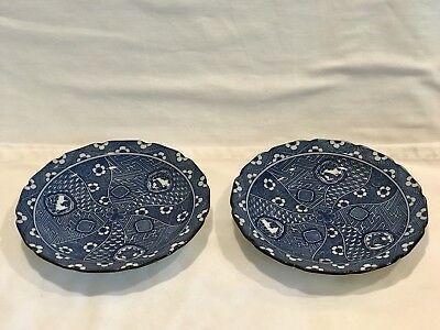 Beautiful Pair of Vintage Japanese Blue and White Plates