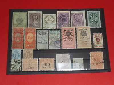 Weltweit Wordwide 21 Revenue Stamps Stempelmarken Saxonia Sweden South America