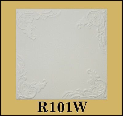 Glue Up Ceiling Tile Easy Installation R101W Antique White Behr Satin Lot of 8pc