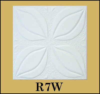 Glue Up Ceiling Tile Easy Installation R7W Antique White Behr Satin Lot of 8pcs