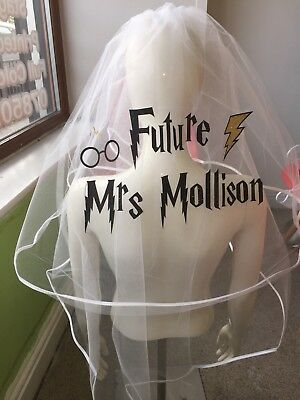 Personalised Veil Harry Potter Inspired Hen Party Glitter Print Bride To Be   👰